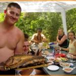 Очень вкусный рыбный обед - шарабан