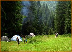 Утро в лагере на лоне природы.